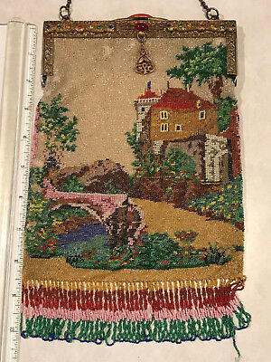 Antique Scenic Micro Beaded Purse with Jeweled Frame