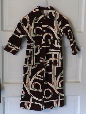 Vintage Bell Bottom Romper Brown Corduroy Metal Snap Buttons Cotton Size 3T CARS