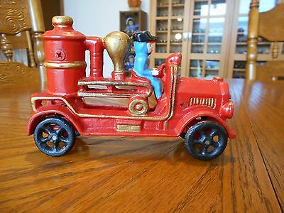 Cast Iron Toy Fire Fighter Engine Steam Pumper Truck with Driver