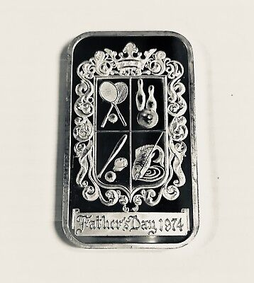 1974 Madison Mint Fathers Day Vintage Art 1 Troy Ounce .999 Fine Silver Bar