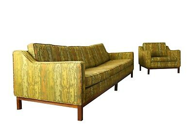 Vintage MCM Mid Century Modern Sofa/Couch + Chair Set, Upholstered, Wood Frame