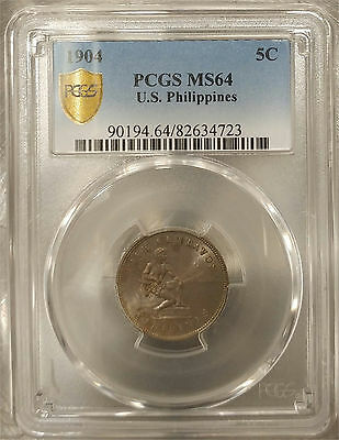 US Philippines 1904-P Five Centavos PCGS MS 64 ~CPPM~