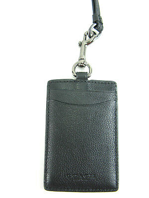 New COACH Men Leather ID LANYARD in BLACK F58114 $95 w/ Receipt!