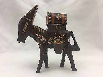 Hand Carved & Painted Wooden Donkey Ass Pack Mule Figurine-5.5 Inches Tall-Look!