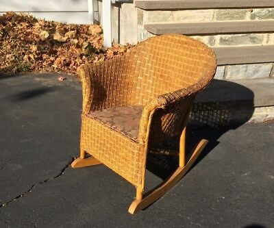 Antique Victorian Childs Wicker Rocking Rocker Chair Country Farm House Decor