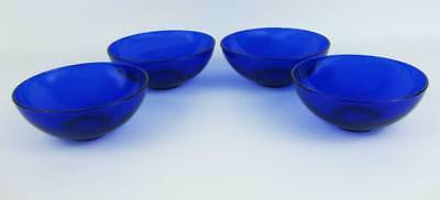 """Cobalt Blue Glass Cereal Bowls(4) 5-1/2"""" Across The Opening"""