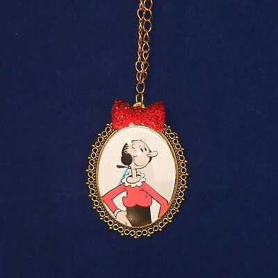 """Olive Oyl Pendant Necklace, Popeye the Sailor Man's Girlfriend, 28"""" Chain"""
