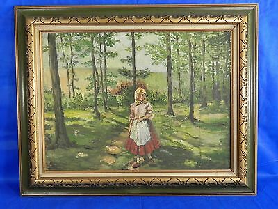 "Original Antique Vintage Signed Oil on Canvas Painting Art 40""x32"""