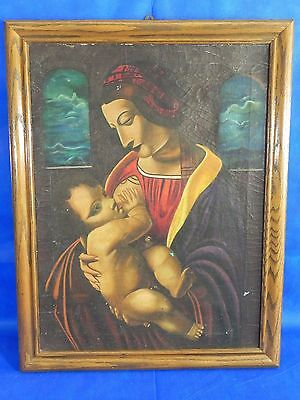 "Original Antique Vintage Signed Oil on Canvas Painting Art 21""x27"""
