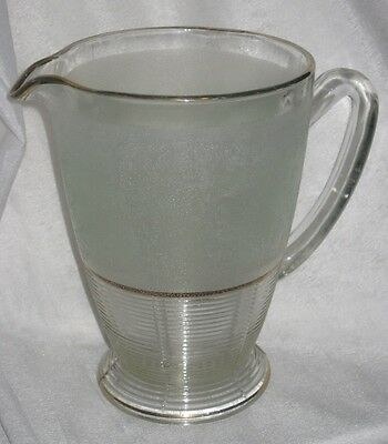Vintage textured green and clear glass water lemonade jug