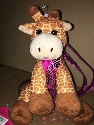 New - Girls Giraffe Plush Purse with Purple Strap and Sequins