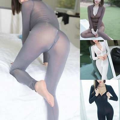 794d2c9db77 Women s Sexy Sheer Bodysuit Catsuits Romper 2 Way Zipper Long Sleeve  Jumpsuit