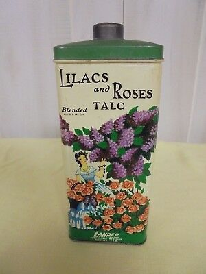 Vintage Lander Lilacs and Roses Talc Tin