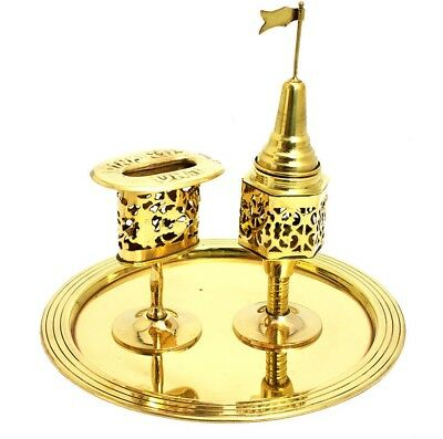Brass copper vintage Shabbat Havdalah Set, Spice Besomin box, Candle Holder gift