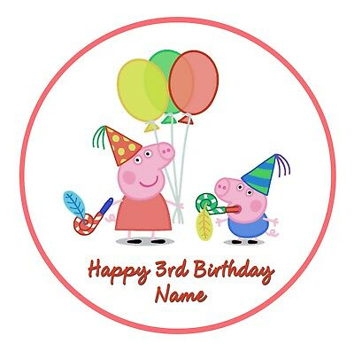 19cm Peppa Pig PERSONALISED ICING edible cake topper image super party George