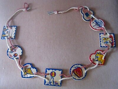 Vintage banner or childs' belt, wooden shapes with mostly circus theme,VERY COOL