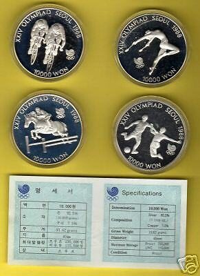 Korea   1988  Olympic  Coin  Proof 4 Pieces