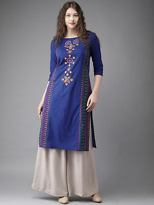 Blue Embroidered Straight Kurti Indian Designer Bollywood Party Top Tunic Dress