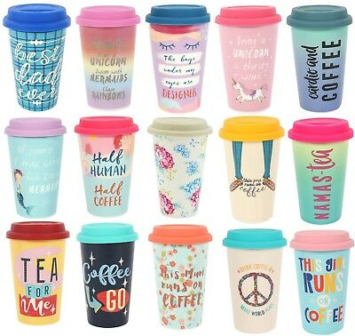 Thermal Ceramic Travel Mug Double Walled with Silicone Lid Insulated Unicorn