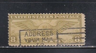 8 cent winged globe airmail postage stamp us sc#C17 used hinged 1932 (lot-D49)