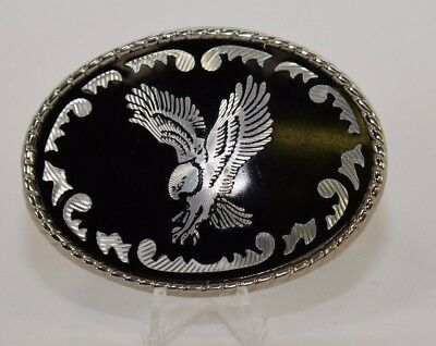 Western Black Onyx Eagle Silver Belt Buckle w Rodeo Rope Rim Pattern Made in USA