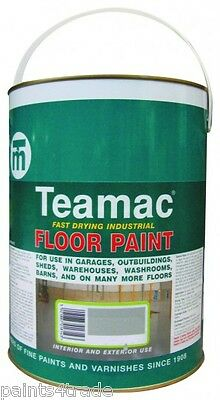 Teamac Concrete Floor Paint for Garage Workshop, Industrial & Showroom Floors 5L