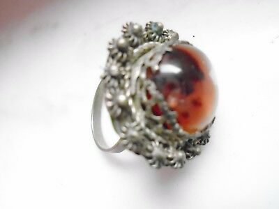 Antique Ethnic  Asian Islamic metal cannetille old AGATE stone bead RING