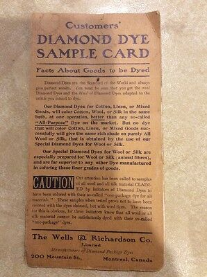 Vintage Diamond Dye Sample Card - Wells & Richardson Co Montreal Canada