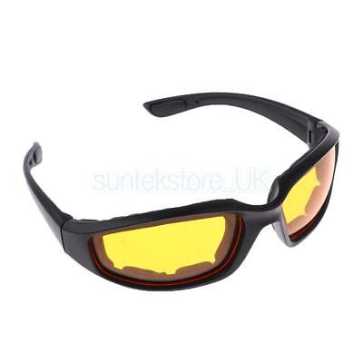 Motorcycle Motorbike Riding Glasses Wind Resistant Padded Comfortable Yellow