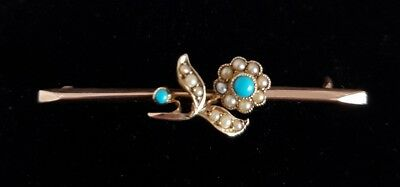 9ct Gold Bar brooch.Floral design, set with seed pearls .By Murrle Bennett & Co