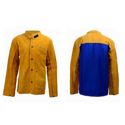 MagiDeal Yellow Cowhide Leather Welder Jacket Heavy Duty for Welders 91-97CM
