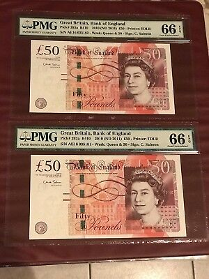 GREAT BRITAIN RUNNING PAIR 50 POUNDS 2011 PMG 66 GEM UNC Pick 393a CHRIS SALMON