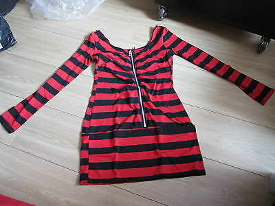 blouse manches longues rouge et noir taille M - shirt black and red