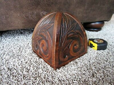 Ornate Tiger Oak Dome Top Newel Post Cap Victorian Carving Stair Case Way Finial