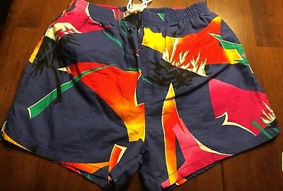 Rare Vtg 1980s Shorts Swim Trunks Big Surf Youth Medium Geometric Retro Boys