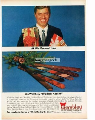 1963 Wembley Neck Ties Imperial Accent Jerry Lewis Christmas Vtg Print Ad