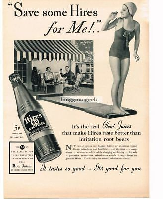 1937 HIRES ROOT BEER Woman Swimmer on Diving Board Vtg Print Ad
