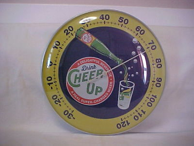 """Cheer Up Soda  12"""" Round Thermometer W / Bottle Graphic With Dome Glass Lens"""