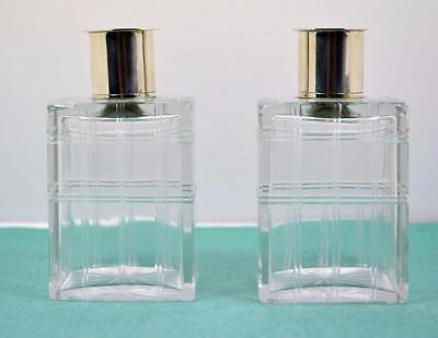 Sterling Silver Mens Eau D Toilette bottles Art Deco cut glass Mappin Webb 1943