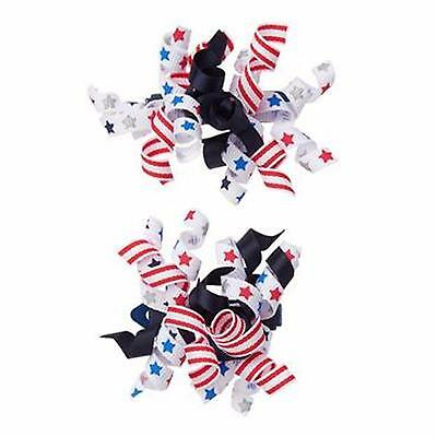 Gymboree RED WHITE & CUTE HAIR CURLY CURLIES BARRETTES 4TH OF JULY 2 3 4 5 6 7 8