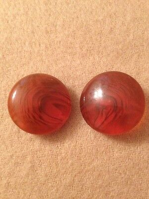 Set Pair of Two Vintage Bakelite Celluloid Amber Orange Brown Coat Buttons