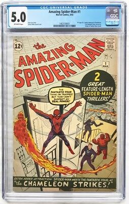 Amazing Spider-Man #1 CGC 5.0 Graded / Off-White Pages / Great Case - Mar 1963