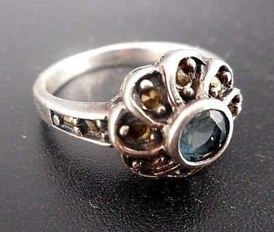 Antique/vintage Sterling Silver Ring With Aquamarine & Marcasite/size 5 To 5.25