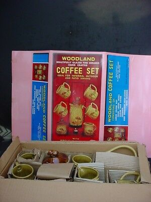 Vintage 70's Woodland Royal Sealy Ceramic Mushroom Coffee Pot Server Set w/box