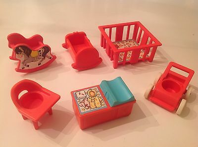 Vtg Fisher Price Little People #761 Pink Nursery Playset,  6 pieces