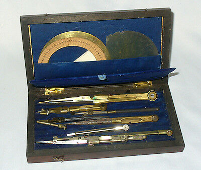 Ancien Coffret Acajou COMPAS XIX EME / OLD COMPASS INSTRUMENTS SCIENCES MESURES