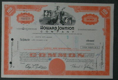 Howard Johnson Company 1972 100 Shares .