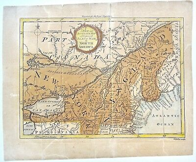 Map of the present Seat of War in North America. Royal Magazine 1759 Antique Map
