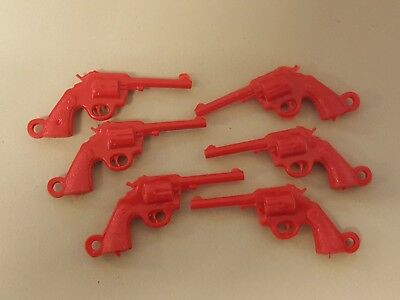 Vintage PISTOL GUNS Red gumball charms LOT of 6 not-cracker-jack - FREE SHIP