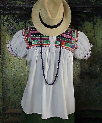 Multi Color Hand Embroidered Blouse Puff Sleeves Maya Chiapas Mexico Hippie Boho